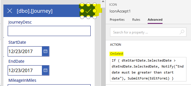 PowerApps Guide - Data - How to validate input data against other
